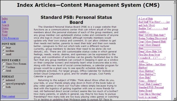 Content Management Systems—Article Indexing